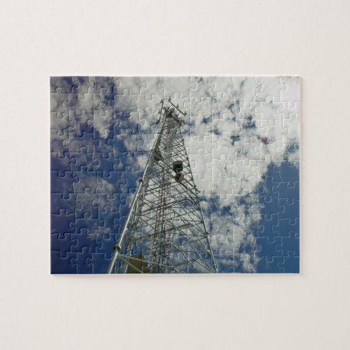 Communications tower reaching for the clouds jigsaw puzzles