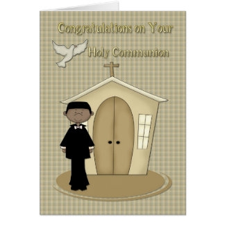 Communion African American Boy Greeting Cards