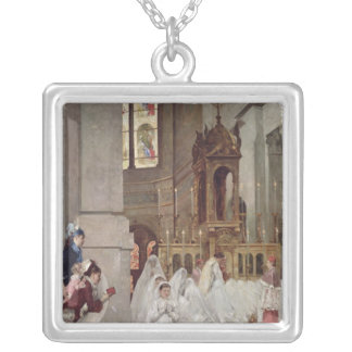 Communion at the Church of the Trinity, 1877 Silver Plated Necklace