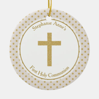 Communion Beige with Gold Polka Dots Ceramic Ornament