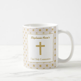 Communion Beige with Gold Polka Dots Coffee Mug
