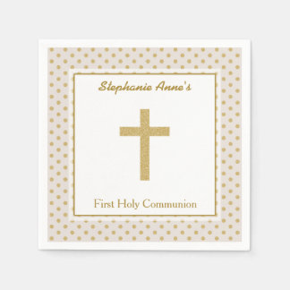 Communion Beige with Gold Polka Dots Napkin