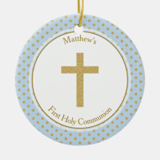 Communion Blue with Gold Polka Dots Ceramic Ornament