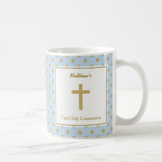 Communion Blue with Gold Polka Dots Coffee Mug