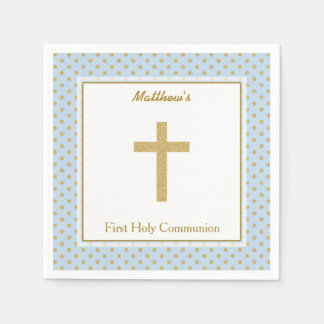 Communion Blue with Gold Polka Dots Napkin