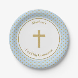 Communion Blue with Gold Polka Dots Paper Plate  sc 1 st  Zazzle & First Holy Communion Plates | Zazzle