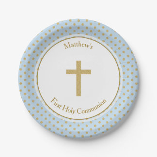 Communion Blue with Gold Polka Dots Paper Plate