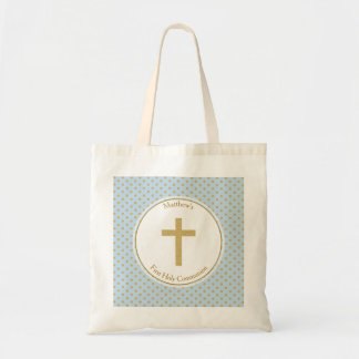 Communion Blue with Gold Polka Dots Tote Bag