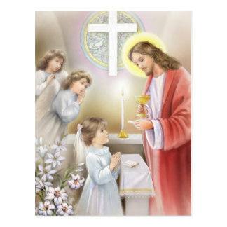 Communion confirmation for girls postcard