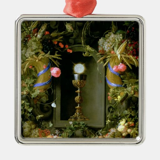 Communion cup and host square metal christmas ornament