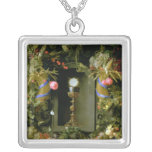 Communion cup and host square pendant necklace
