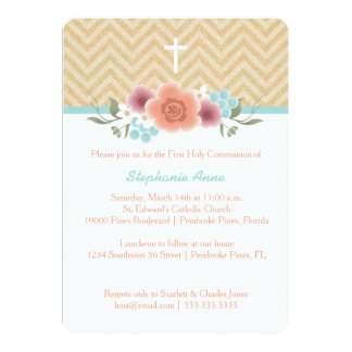 Communion Floral Swag in Gold and Aqua Card