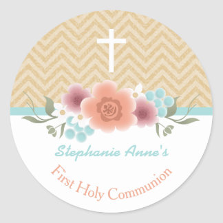 Communion Floral Swag in Gold and Aqua Classic Round Sticker
