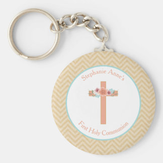 Communion Floral Swag in Gold and Aqua Keychain
