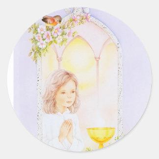 Communion girl praying sticker