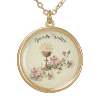 Communion Host Pink Flowers  Chalice Lace Gold Plated Necklace