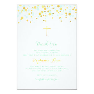 Communion Mint and Gold Confetti Card