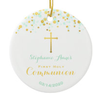 Communion Mint and Gold Confetti Ceramic Ornament