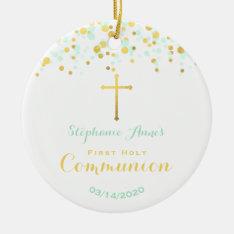 Communion Mint And Gold Confetti Ceramic Ornament at Zazzle