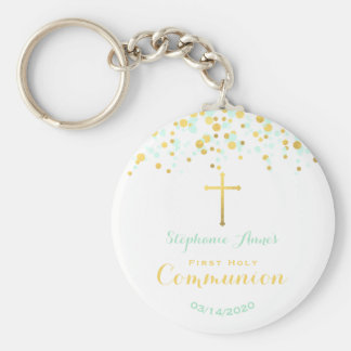 Communion Mint and Gold Confetti Keychain