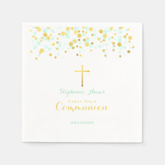 Communion Mint and Gold Confetti Paper Napkin