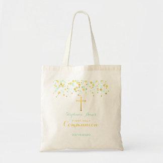 Communion Mint and Gold Confetti Tote Bag