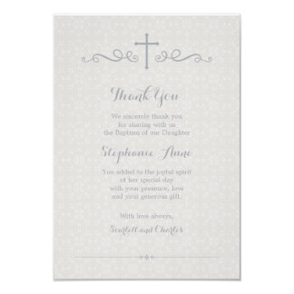Communion Ornate Cross in Taupe Floral Pattern Card