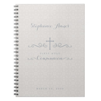 Communion Ornate Cross in Taupe Floral Pattern Notebook
