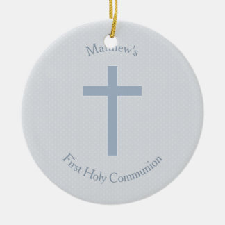 Communion Pastel Blue Cross Ceramic Ornament