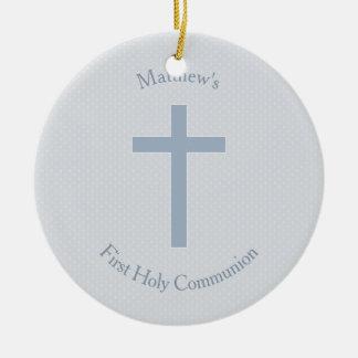 Communion Pastel Blue Cross Ceramic Ornament