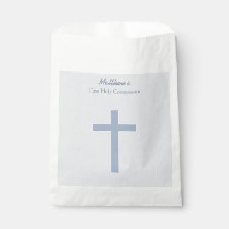 Communion Pastel Blue Cross Favor Bag