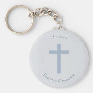 Communion Pastel Blue Cross Keychain