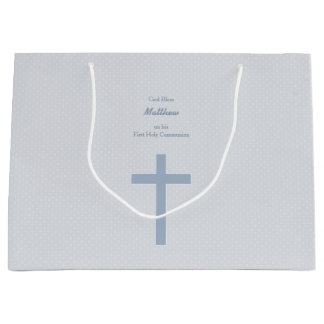 Communion Pastel Blue Cross Large Gift Bag