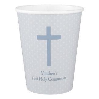 Communion Pastel Blue Cross Paper Cup
