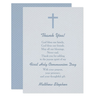 Communion Pastel Blue Cross Thank You Card