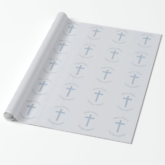 Communion Pastel Blue Cross Wrapping Paper