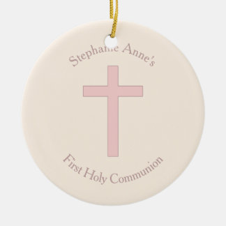 Communion Pastel Pink Cross Ceramic Ornament