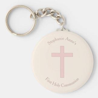 Communion Pastel Pink Cross Keychain