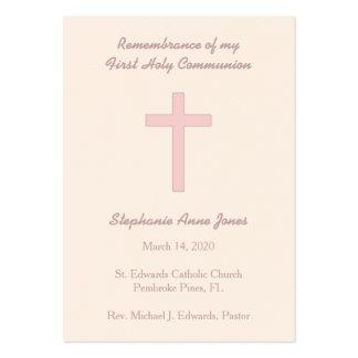 Communion Pastel Pink Cross Large Business Card