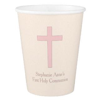 Communion Pastel Pink Cross Paper Cup