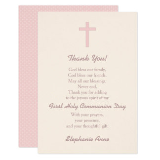 Communion Pastel Pink Cross Thank You Card