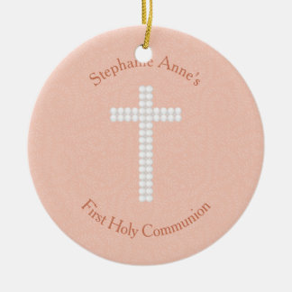 Communion Peach Vines and Stripes Ceramic Ornament