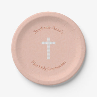 Communion Peach Vines and Stripes Paper Plate