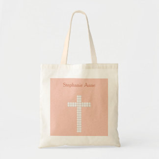 Communion Peach Vines and Stripes Tote Bag
