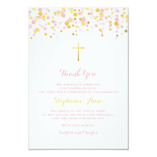 Communion Pink and Gold Confetti Card
