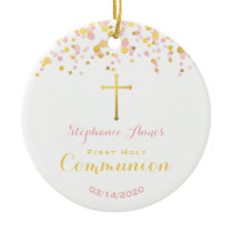 Communion Pink and Gold Confetti Ceramic Ornament