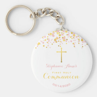 Communion Pink and Gold Confetti Keychain
