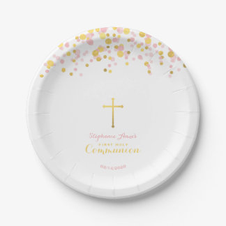 Communion Pink and Gold Confetti Paper Plate
