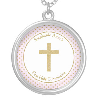 Communion Pink with Gold Polka Dots Round Pendant Necklace