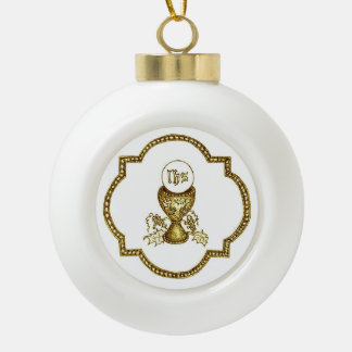Communion Symbol Ceramic Ball Christmas Ornament